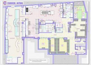 Plano de distribución cocina industrial y zona de venta al público